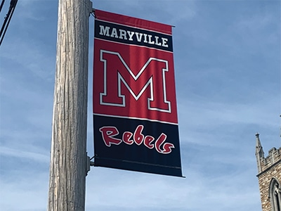 Maryville rebels banner outside of the local high school